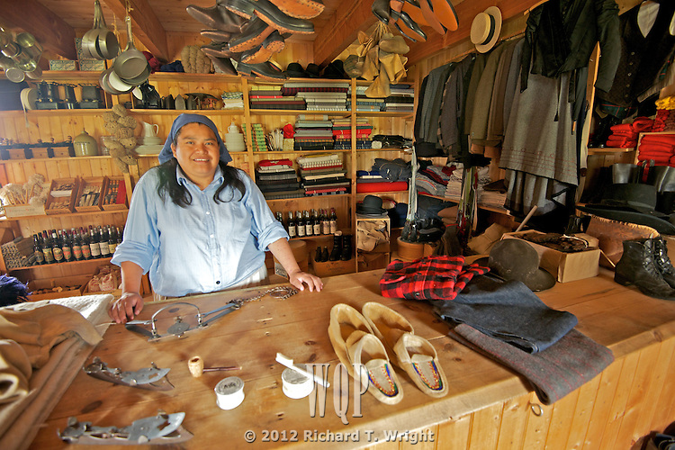 An interpreter in the trading post at Fort St. James National Historic Site, British Columbia.