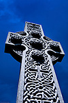 Celtic high cross at dusk.