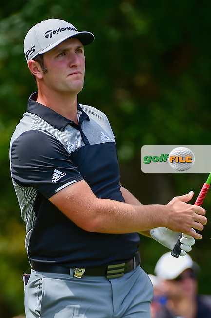Jon Rahm (ESP) watches his tee shot on 5 during Thursday's round 1 of the PGA Championship at the Quail Hollow Club in Charlotte, North Carolina. 8/10/2017.<br /> Picture: Golffile | Ken Murray<br /> <br /> <br /> All photo usage must carry mandatory copyright credit (&copy; Golffile | Ken Murray)