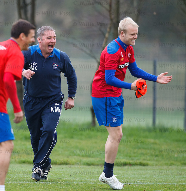 Ally McCoist laughing at Steven Naismith