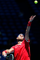 7th January 2020; RAC Arena, Perth, Western Australia; ATP Cup Australia, Perth, Day 5; Russia versus Norway;Karen Khachanov of Russia serves during his match against Viktor Durasovic of Norway - Editorial Use