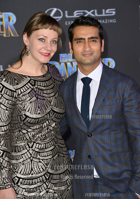 Emily V. Gordon &amp; Kumail Nanjiani at the world premiere for &quot;Black Panther&quot; at the Dolby Theatre, Hollywood, USA 29 Jan. 2018<br /> Picture: Paul Smith/Featureflash/SilverHub 0208 004 5359 sales@silverhubmedia.com