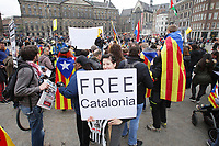 Catalan Pro-Independece activists from ANC (Catalan National Assembly) take part durring the 'Solidarity with the Catalans' demonstration at the Dam square on April 14, 2018 in Amsterdam,Netherlands. The Catalan National Assembly is an association of citizens of different political ideologies, united in the conviction that Catalonia has the right to become an independent State. Photo by Paulo Amorim
