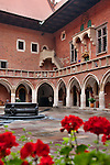 The courtyard of the Maius Museum, which is the oldest building of the Jagiellonian University, or University of Krakow, Poland. The University of Krakow is the second oldest university in central Europe, founded in 1364 by King Casimir II the Great