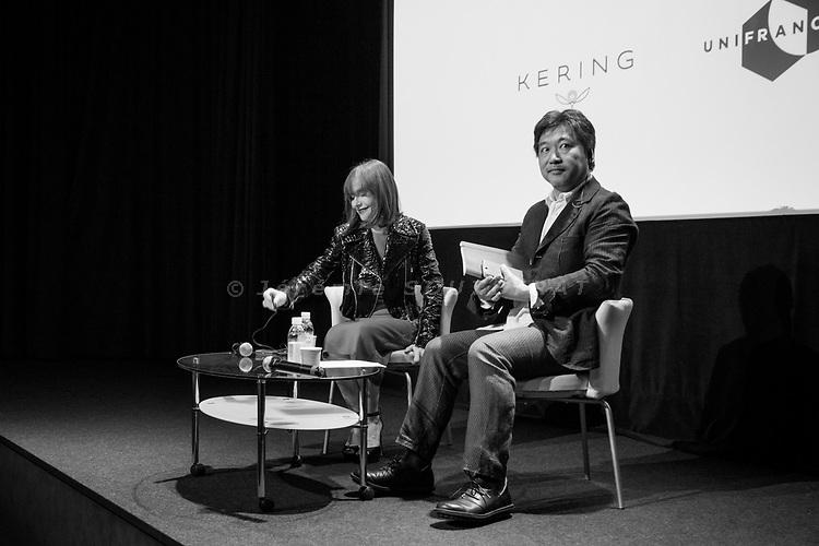Tokyo, June 23 2017 - Women in Motion talk between Japanese director Hirokazu Koreeda and French actress Isabelle Huppert.