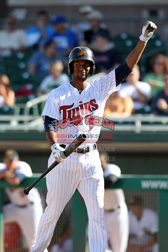 Mesa Solar Sox outfielder Aaron Hicks #5 during an Arizona Fall League game against the Phoenix Desert Dogs at HoHoKam Park on November 3, 2011 in Mesa, Arizona.  Mesa defeated Phoenix 8-7.  (Mike Janes/Four Seam Images)