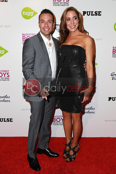 """Howie Dorough and Leigh Boniello<br /> at the Backstreet Boys """"Show 'Em What You're Made Of"""" Premiere, Arclight, Hollywood, CA 01-29-15<br /> David Edwards/DailyCeleb.com 818-249-4998"""