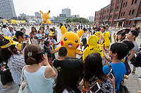 The third annual Pikachu Outbreak event at the Redbrick warehouse (akarenga sogo) in Yokohama, Kanagawa, Japan. Wednesday August 10th 2016. The event is hosted by the Pokemon Company. Over 1,000 Pikachu characters are set to appear in week of events from 7th to 14th of August..