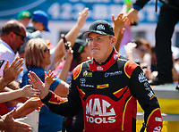 Jun 17, 2018; Bristol, TN, USA; NHRA top fuel driver Doug Kalitta during the Thunder Valley Nationals at Bristol Dragway. Mandatory Credit: Mark J. Rebilas-USA TODAY Sports