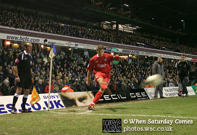 Birmingham City 0 Liverpool 7, 21/03/2006. St Andrews, FA Cup 6th Round. Birmingham City (blue) versus Liverpool,  The home side lost 0-7. Picture shows Liverpool captain Steven Gerrard taking a first-half corner. Photo by Colin McPherson.
