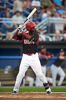 Batavia Muckdogs third baseman Javier Lopez (5) at bat during a game against the Auburn Doubledays on September 5, 2015 at Dwyer Stadium in Batavia, New York.  Batavia defeated Auburn 6-3.  (Mike Janes/Four Seam Images)