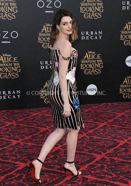 WWW.ACEPIXS.COM<br /> <br /> May 23 2016, LA<br /> <br /> Actress Anne Hathaway arriving at the premiere of Disney's 'Alice Through The Looking Glass' at the El Capitan Theatre on May 23, 2016 in Hollywood, California.<br /> <br /> <br /> By Line: Peter West/ACE Pictures<br /> <br /> <br /> ACE Pictures, Inc.<br /> tel: 646 769 0430<br /> Email: info@acepixs.com<br /> www.acepixs.com