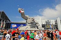 Jun 1, 2008; Dover, DE, USA; NASCAR Sprint Cup Series fans congregate around Miles the Monster, the mascot of the track, prior to the Best Buy 400 at the Dover International Speedway. Mandatory Credit: Mark J. Rebilas-US PRESSWIRE