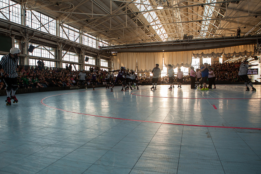 """The 2012 Women's Flat Track Derby Association (WFTDA) Western Region Playoffs was held at Craneway Pavillion in Richmond, California on September 21-23. WFTDA, the international governing body of women's flat track roller derby, """"promotes and fosters the sport of women's flat track roller derby by facilitating the development of athletic ability, sportswomanship, and goodwill among member leagues."""""""
