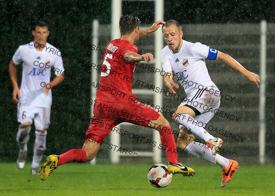 Fudbal Football Soccer<br /> UEFA Europa league-Second qualifying round, First leg<br /> Cukaricki v Grodig Austria<br /> Igor Matic (R) and Timo Brauer<br /> Beograd, 07.17.2014.<br /> foto: Srdjan Stevanovic/Starsportphoto &copy;