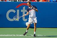 Washington, DC - August 4, 2019:  Daniil Medvedev (RUS) returns a shot during the Citi Open ATP Singles final at William H.G. FitzGerald Tennis Center in Washington, DC  August 4, 2019.  (Photo by Elliott Brown/Media Images International)