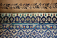 IZNIK TILES AND STENCILLING AT THE RUSTEM PASA MOSQUE, ISTANBUL, TURKEY