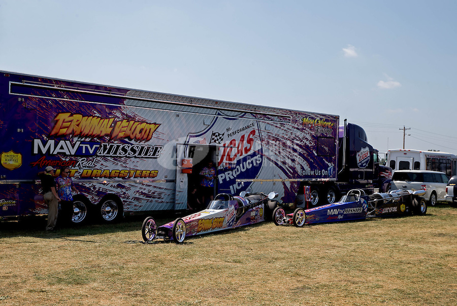Aug. 30, 2013; Clermont, IN, USA: NHRA two jet dragsters during qualifying for the US Nationals at Lucas Oil Raceway. Mandatory Credit: Mark J. Rebilas-