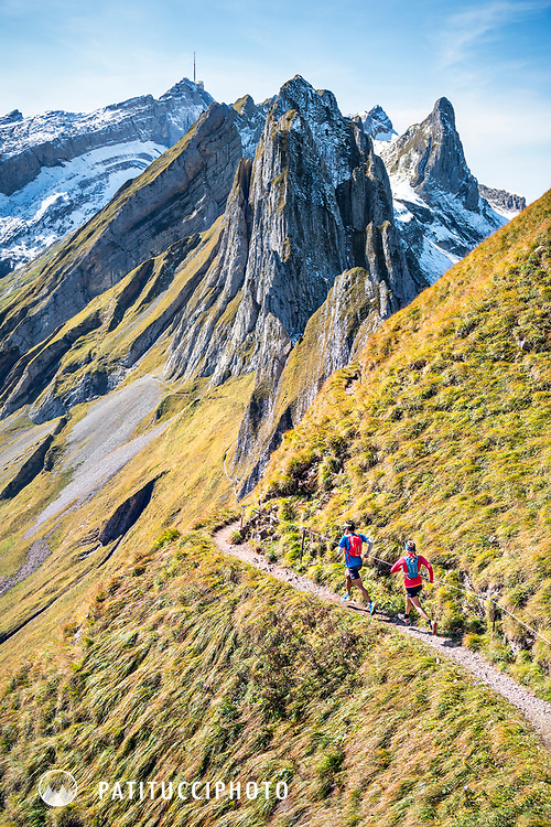 Singletrack trail running in the Alpstein region of eastern Switzerland