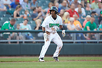 Jeter Downs (2) of the Dayton Dragons takes his lead off of third base against the Bowling Green Hot Rods at Fifth Third Field on June 9, 2018 in Dayton, Ohio. The Hot Rods defeated the Dragons 1-0.  (Brian Westerholt/Four Seam Images)