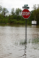 The intersection of Water Street and Fourth Street is submerged in four feet-deep Mississippi River floodwater in the Red Star District of Cape Girardeau, MO, on Sunday, May 1, 2011.
