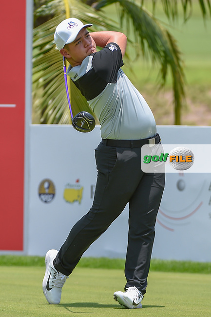 Brentt SALAS (GUM) watches his tee shot on 2 during Rd 1 of the Asia-Pacific Amateur Championship, Sentosa Golf Club, Singapore. 10/4/2018.<br /> Picture: Golffile | Ken Murray<br /> <br /> <br /> All photo usage must carry mandatory copyright credit (© Golffile | Ken Murray)