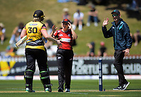 Rebecca Burns (left) celebrates victory (and her 50 runs) during the Dream11 Super Smash women's cricket match between the Wellington Blaze and Canterbury Magicians at Basin Reserve in Wellington, New Zealand on Thursday, 9 January 2020. Photo: Dave Lintott / lintottphoto.co.nz