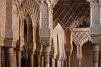 Detail of portico and pillars; Courtyard of the Lions; 1362; Second reign of Muhammad V; Nasrid Palace; The Alhambra, Granada, Andalusia, Spain Picture by Manuel Cohen