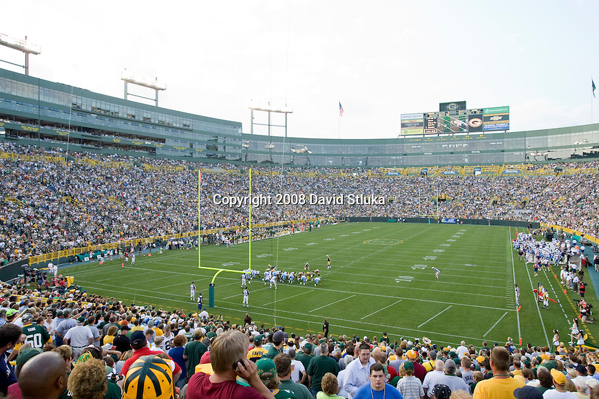 GREEN BAY, WI - AUGUST 28: A general view of Lambeau Field during the Green Bay Packers preseason game against the Tennessee Titans on August 28, 2008 in Green Bay, Wisconsin. The Titans beat the Packers 23-21. (Photo by David Stluka)