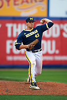 Michigan Wolverines first baseman Carmen Benedetti (43) warms up in the bullpen during the second game of a doubleheader against the Canisius College Golden Griffins on February 20, 2016 at Tradition Field in St. Lucie, Florida.  Michigan defeated Canisius 3-0.  (Mike Janes/Four Seam Images)
