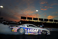 Sept. 28, 2012; Madison, IL, USA: NHRA pro stock driver Larry Morgan during qualifying for the Midwest Nationals at Gateway Motorsports Park. Mandatory Credit: Mark J. Rebilas-