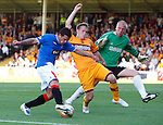 Nacho Novo cracks a shot off the post as he beats Steven Hammell and keeper John Ruddy