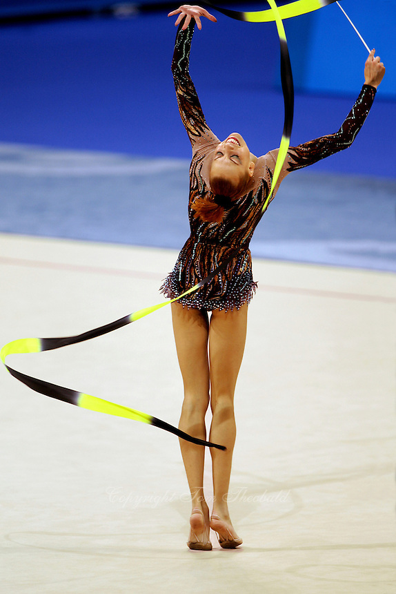 Natalya Godunko of Ukraine expresses with ribbon at 2004 Athens Olympic Games during All-Around final on August 29, 2006 at Athens, Greece. Godunko placed 4th in the final.