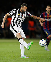 Calcio, finale di Champions League Juventus vs Barcellona all'Olympiastadion di Berlino, 6 giugno 2015.<br /> Juventus' Andrea Barzagli kicks the ball during the Champions League football final between Juventus Turin and FC Barcelona, at Berlin's Olympiastadion, 6 June 2015. Barcelona won 3-1.<br /> UPDATE IMAGES PRESS/Isabella Bonotto