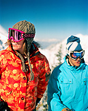 USA, Utah, friends socializing and smiling, Alta Ski Resort