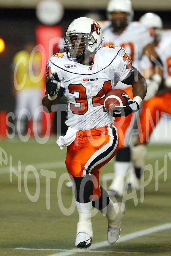 Antonio Warren BC Lions. Copyright photograph Scott Grant