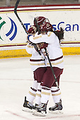 Melissa Bizzari (BC - 4), Kristyn Capizzano (BC - 7) - The Boston College Eagles defeated the Northeastern University Huskies 3-0 on Tuesday, February 11, 2014, to win the 2014 Beanpot championship at Kelley Rink in Conte Forum in Chestnut Hill, Massachusetts.