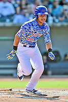 Tennessee Smokies designated hitter Wilson Contreras (40) runs to first during a game against the Birmingham Barons on August 2, 2015 in Kodak, Tennessee. The Smokies defeated the Barons 5-2. (Tony Farlow/Four Seam Images)