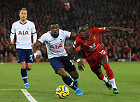 27th October 2019; Anfield, Liverpool, Merseyside, England; English Premier League Football, Liverpool versus Tottenham Hotspur; Sadio Mane of Liverpool takes on Serge Aurier of Tottenham Hotspur - Strictly Editorial Use Only. No use with unauthorized audio, video, data, fixture lists, club/league logos or 'live' services. Online in-match use limited to 120 images, no video emulation. No use in betting, games or single club/league/player publications