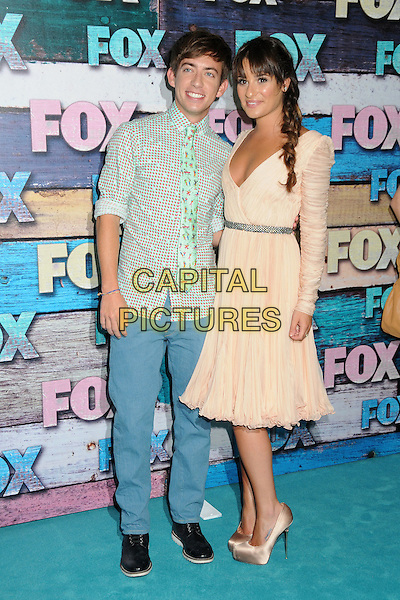 Kevin McHale & Lea Michele.Fox All-Star Party - Summer 2012 held at Private Location, West Hollywood, California, USA..July 23rd, 2012.full length green red polka dot shirt print pink peach ruched sleeves sheer dress braid plait hair silver belt low cut neckline cleavage blue trousers.CAP/ADM/BP.©Byron Purvis/AdMedia/Capital Pictures.