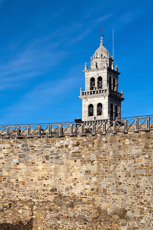 Bell tower of La Encina basilica over the castle walls, town of Ponferrada, El Bierzo region, province of Leon, autonomous community of Castilla and Leon, northern Spain