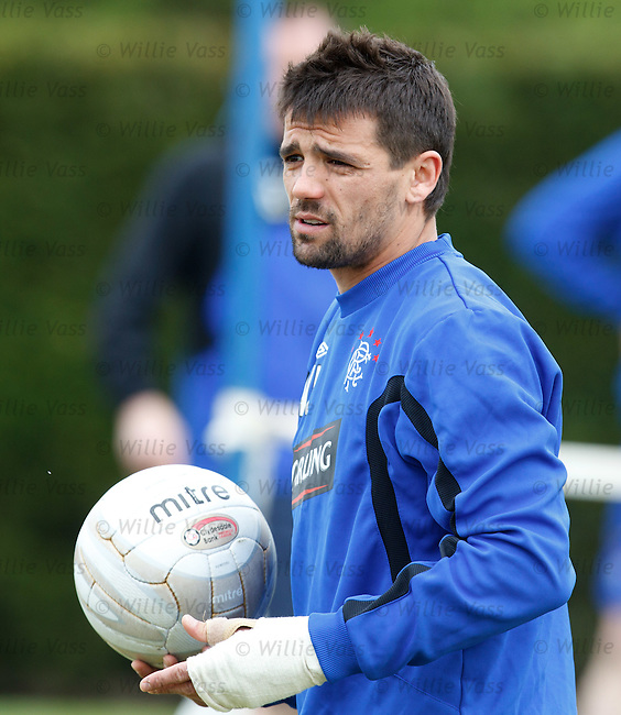 Nacho Novo looking glum during his final Rangers training session