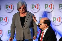 Pierluigi Bersani Segretario PD e Rosy Bindi Presidente del PD.Roma 20/1/2012 Nuova Fiera Di Roma.Assemblea Nazionale PD Partito Democratico.Foto Insidefoto Andrea Staccioli