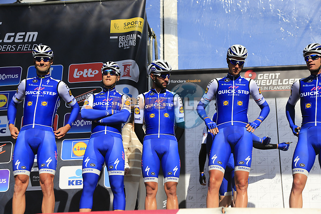 Quick-Step Floors team on stage at sign on for Gent-Wevelgem in Flanders Fields 2017, running 249km from Denieze to Wevelgem, Flanders, Belgium. 26th March 2017.<br /> Picture: Eoin Clarke | Cyclefile<br /> <br /> <br /> All photos usage must carry mandatory copyright credit (&copy; Cyclefile | Eoin Clarke)