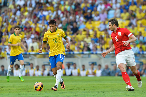 02.06.2013. Maracana Stadium, Rio de Janeiro, Brazil. Frank Lampard covers Neymar. International football friendly and the official opening of the newly refurbished stadium. The score ended at 2-2.