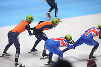 SHORTTRACK: DORDRECHT: Sportboulevard Dordrecht, 24-01-2015, ISU EK Shorttrack, Relay, Itzhak DE LAAT (NED | #50), Daan BREEUWSMA (NED | #49), Richard SHOEBRIDGE (GBR | #24), ©foto Martin de Jong