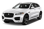 2017 Jaguar F-PACE 20d-R-Sport-AWD 5 Door SUV Angular Front stock photos of front three quarter view