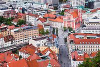 Franciscan Church of the Annunciation in Preseren Square, seen from Ljubljana Castle in Ljubljana Old Town, Slovenia, Europe