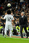 Real Madrid´s coach Carlo Ancelotti and Marcelo Vieira during 2014-15 La Liga match between Real Madrid and Levante UD at Santiago Bernabeu stadium in Madrid, Spain. March 15, 2015. (ALTERPHOTOS/Luis Fernandez)