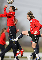 Abby Wambach and Sonia Bompastor during Washington Freedom  practice and media event at the Maryland Soccerplex on March 25 in Boyd's, Maryland.